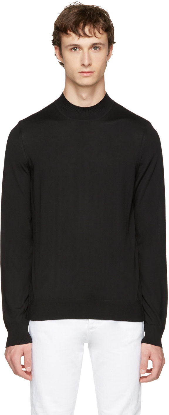 Maison Margiela Wools Black Mock Neck Sweater