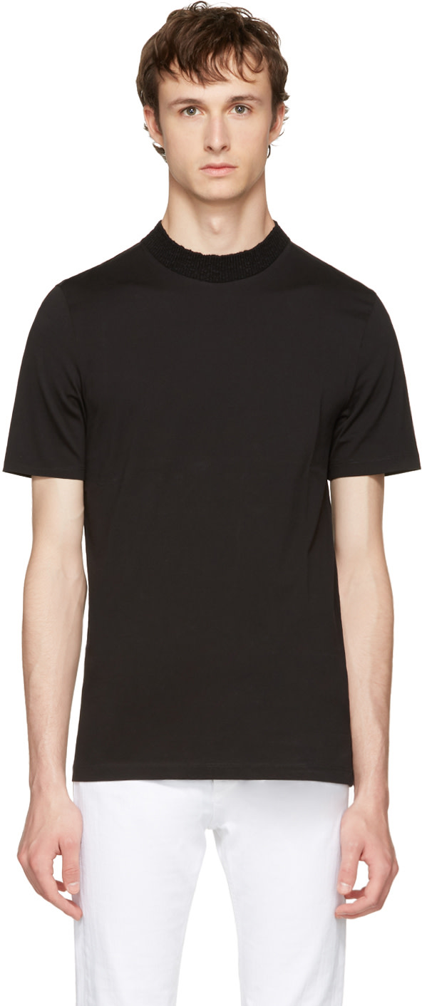 Maison Margiela Cottons Black Knit Crewneck T-Shirt