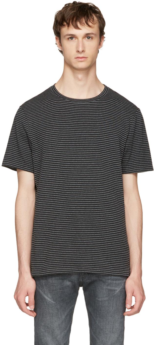 Maison Margiela Cottons Black & Grey Striped T-Shirt