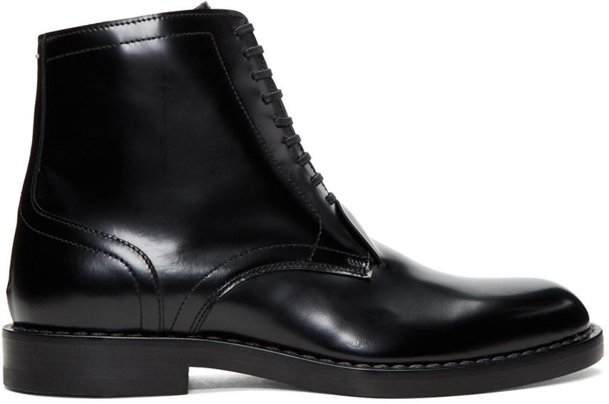 Maison Margiela Leathers BLACK LEATHER LACE-UP BOOTS