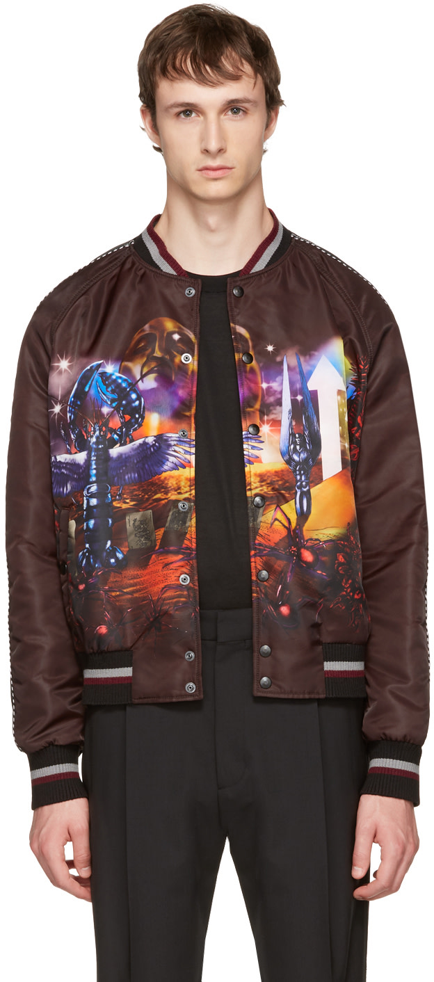 LANVIN Flying Lobster-Graphic Tech-Satin Bomber Jacket in Multicolour