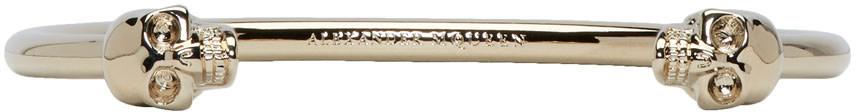 Alexander Mcqueen Bracelets Gold Thin Twin Skull Bracelet