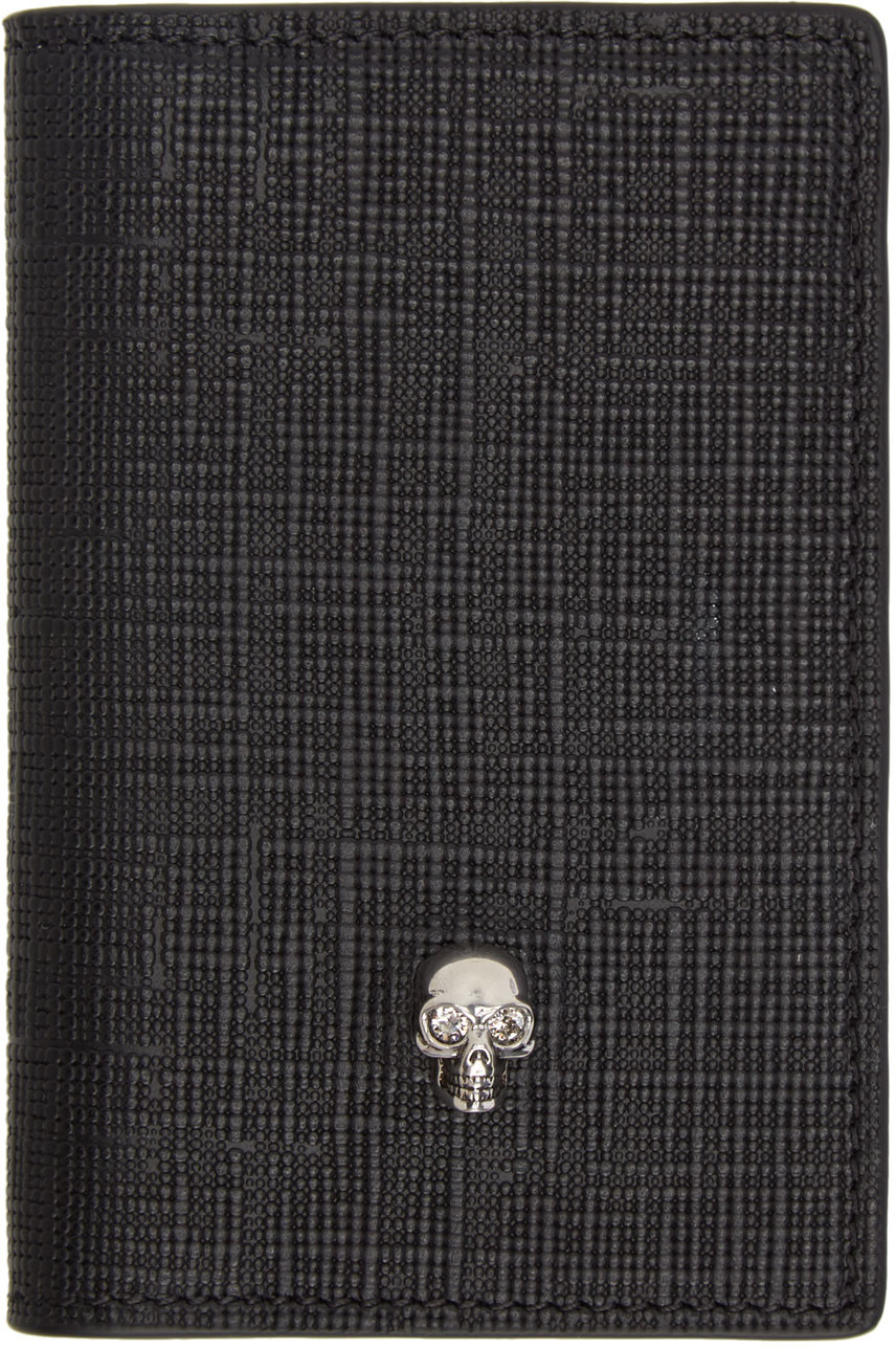 Alexander Mcqueen Accessories Black & Gunmetal Skull Pocket Organizer
