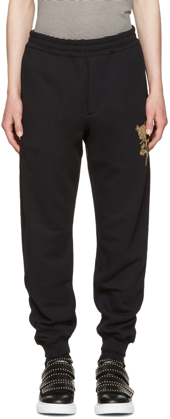 Alexander Mcqueen Cottons Black Beaded Floral Classic Lounge Pants