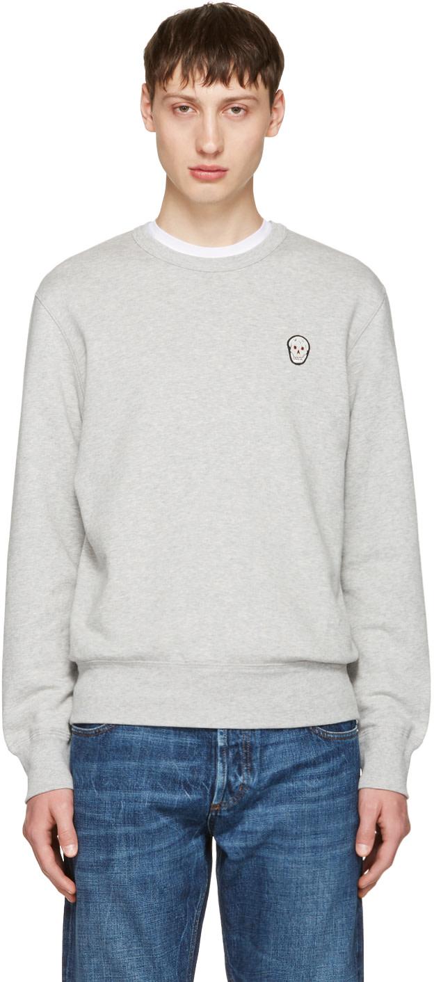 Alexander Mcqueen Knits Grey Bullion Skull Patch Sweatshirt
