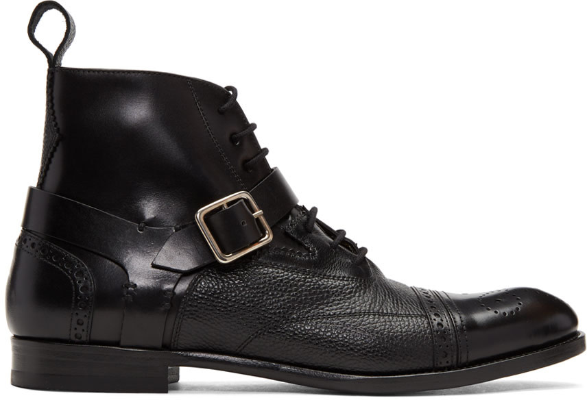 Alexander Mcqueen Leathers Black Buckle Brogue Boots