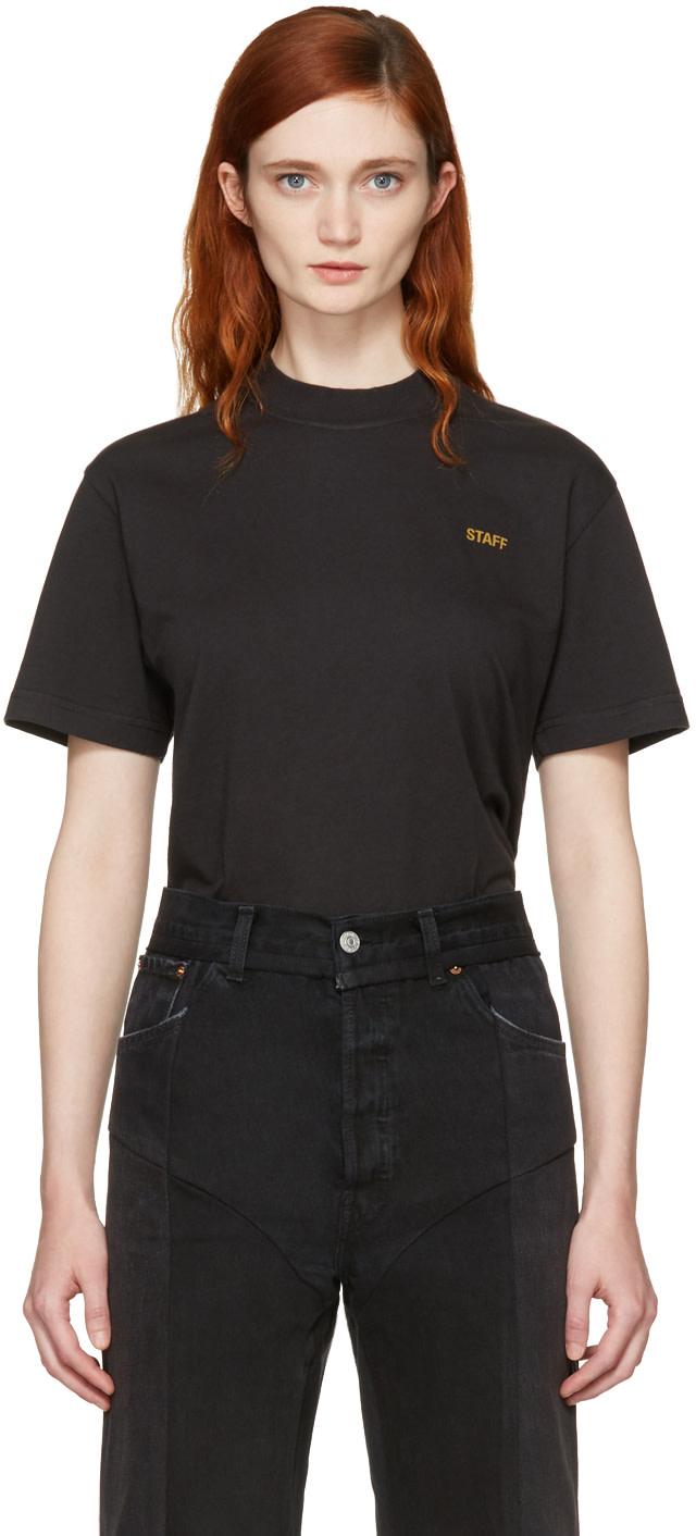 Vetements Cottons Black Basic 'Staff' T-Shirt
