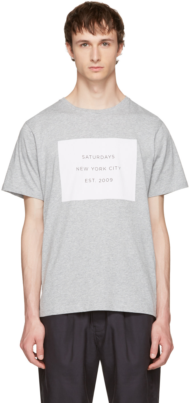 SATURDAYS SURF NYC Grey Established Block T-Shirt