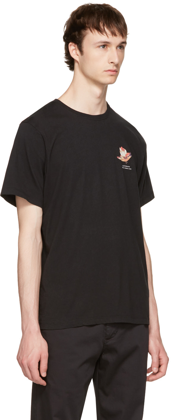 SATURDAYS SURF NYC Black Lotus Flower T-Shirt