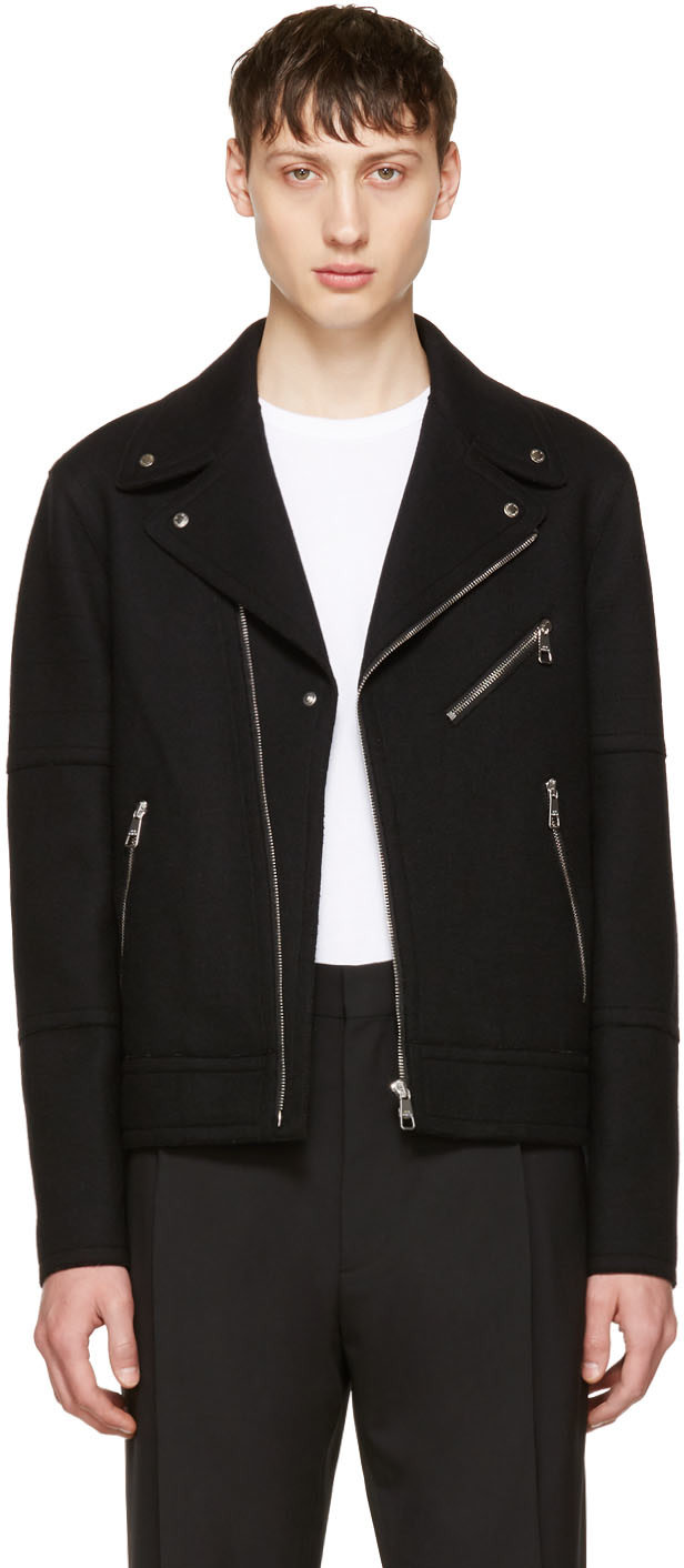 Neil Barrett Wools Black Raw Cut Wool Biker Jacket