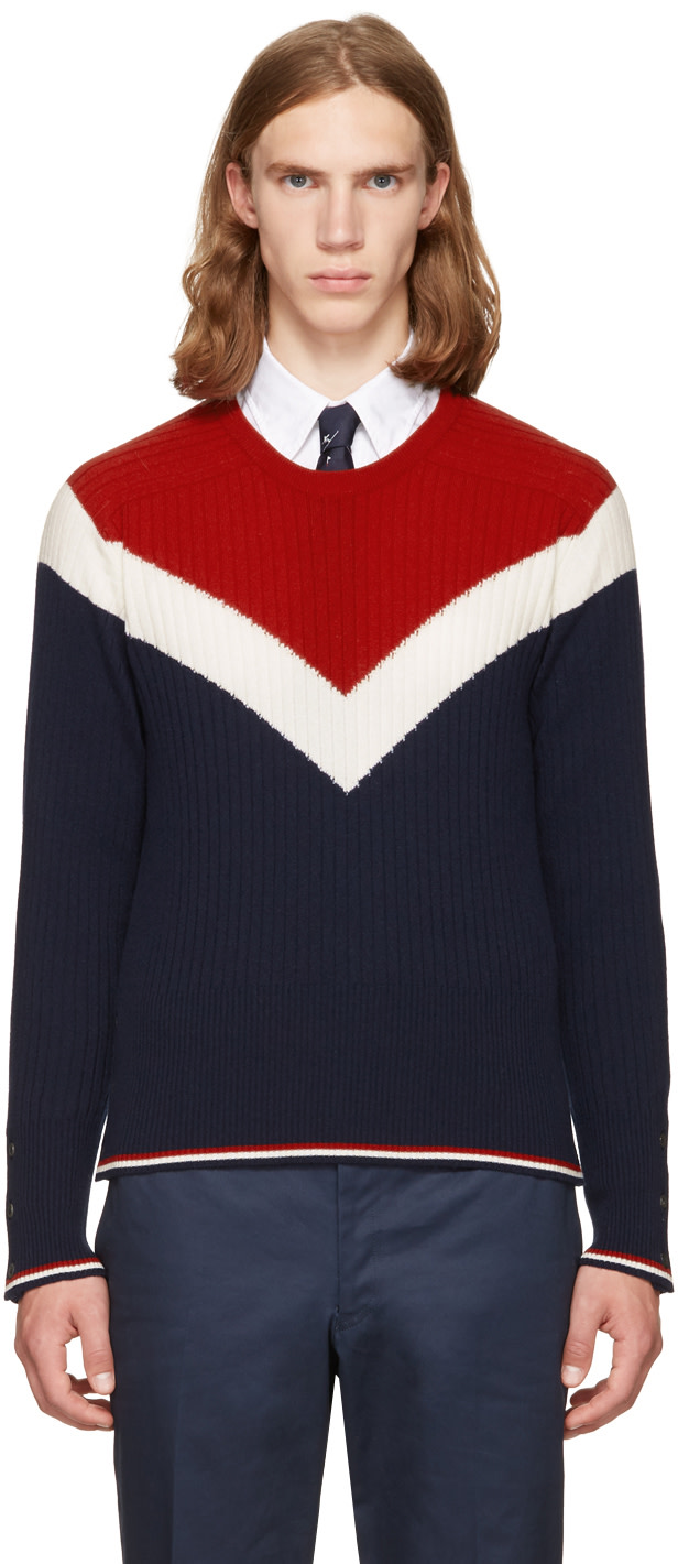 Thom Browne Cashmeres Tricolor Saddle Sleeve Crewneck Pullover