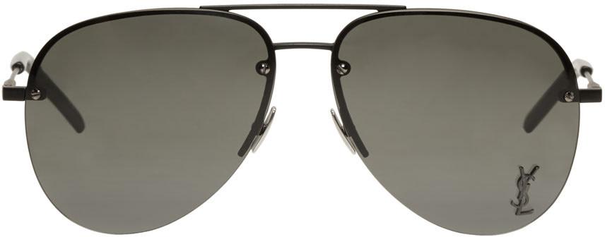 Saint Laurent Sunglasses SAINT LAURENT BLACK MONOGRAM M11 AVIATOR SUNGLASSES