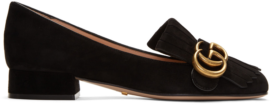 87019371c6d Gucci Marmont Fringed Logo-Embellished Suede Loafers In Black ...