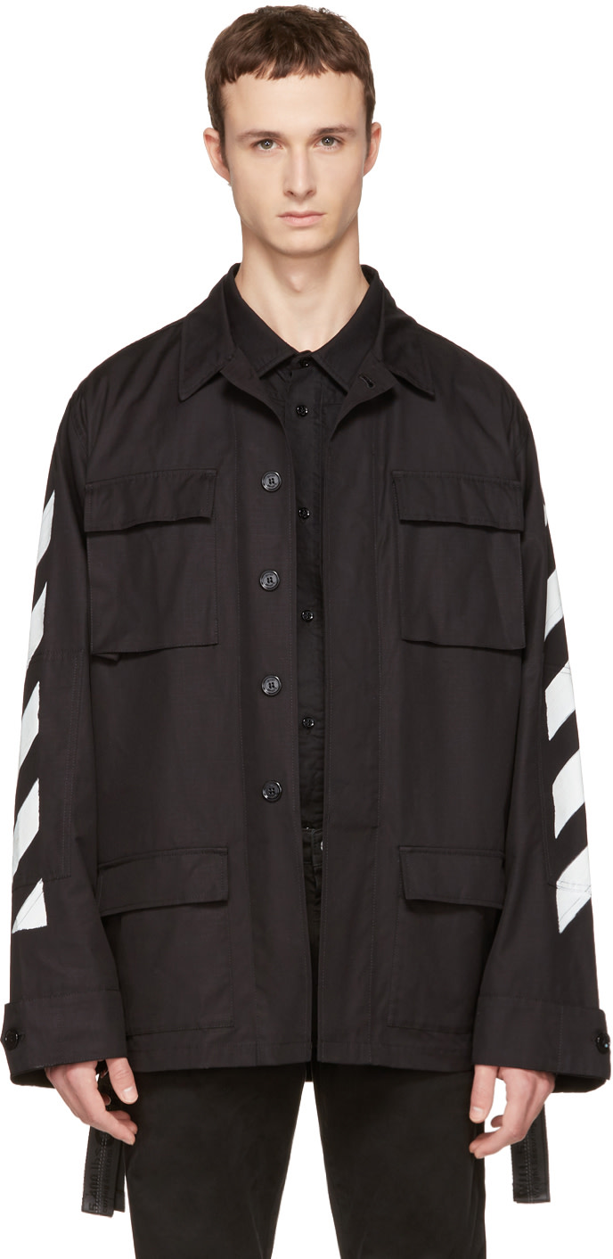 OFF-WHITE BLACK BRUSHED DIAGONAL FIELD JACKET