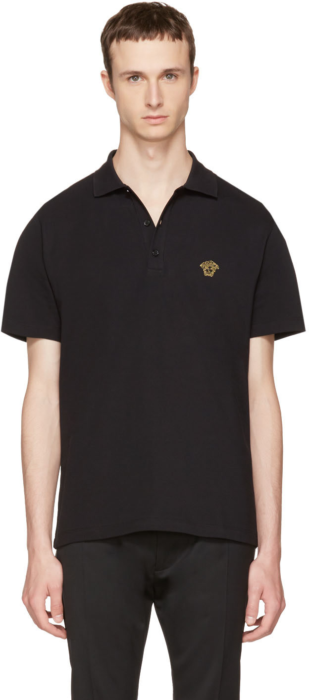 Medusa-embroidered cotton-piqué polo shirt