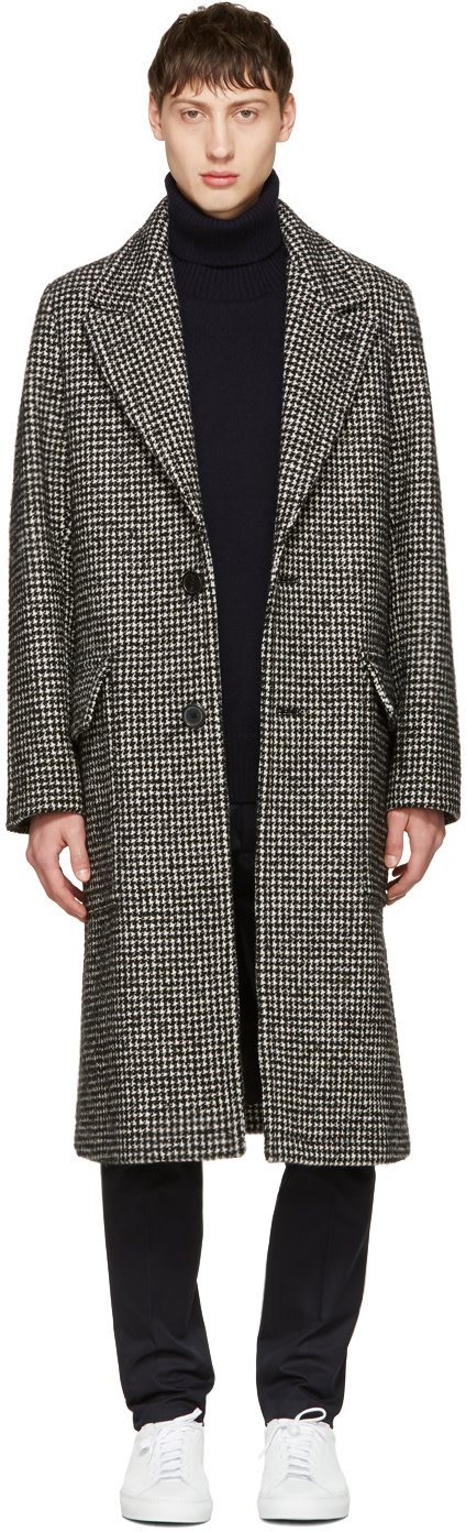 Houndstooth Single-Breasted Overcoat in Black