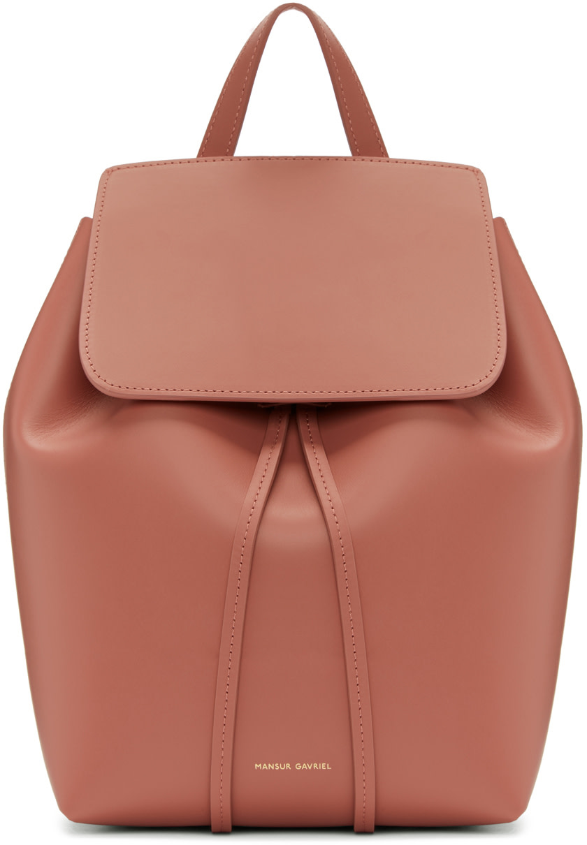 Mini Leather Backpack - Pink in Blush