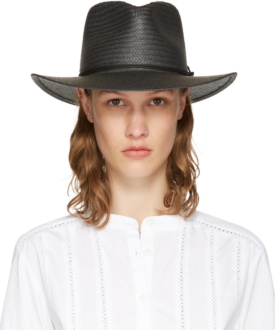 Rag & Bone Packable Straw Fedora Hat, Black In Grey