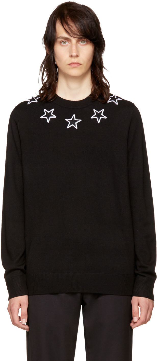 63d337d8029e2 GIVENCHY Black Stars Crewneck Sweater