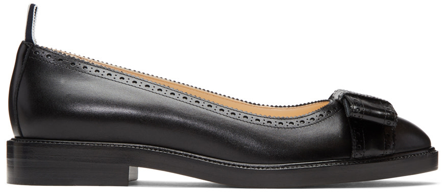 Thom Browne Black Daytime Bow Ballerina Flats 6UfPT