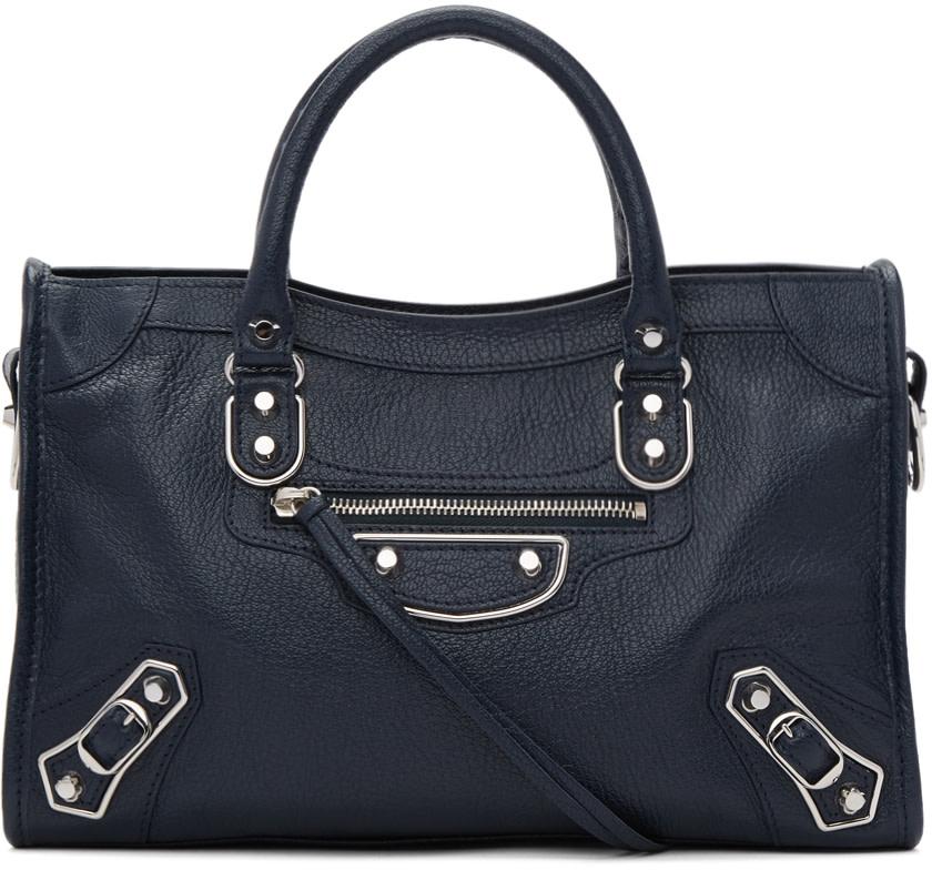 Balenciaga Metallic Edge Nickel City Bag, Royal Blue