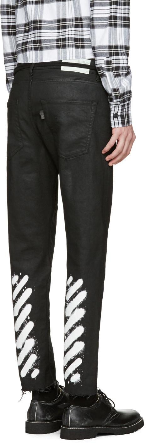 Off-White: Black Sprayed Diagonals Cropped Jeans | SSENSE
