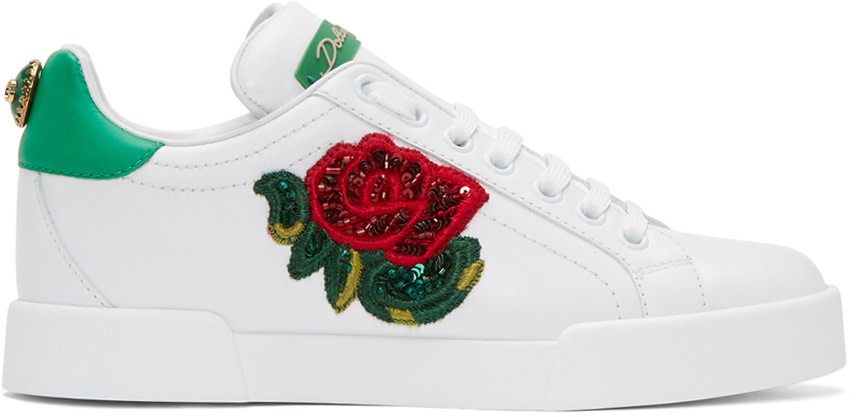 Portofino Leather Sneakers With Rose Patch in White
