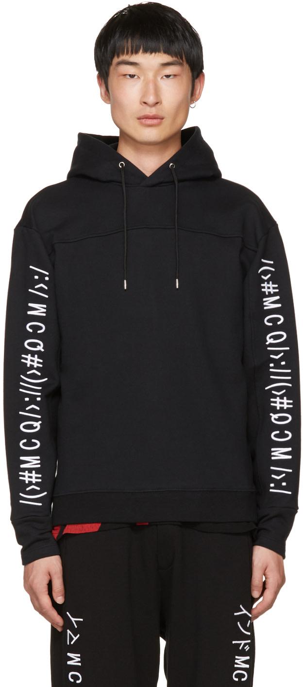 mcq by alexander mcqueen mcq alexander mcqueen embroidered logo hoodie in darkest black modesens. Black Bedroom Furniture Sets. Home Design Ideas