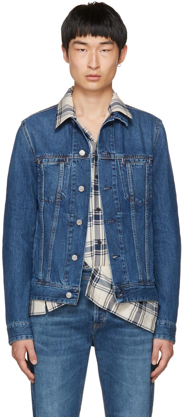 Pass Slim-Fit Stretch-Denim Jacket - Mid Denim in Mid Blue