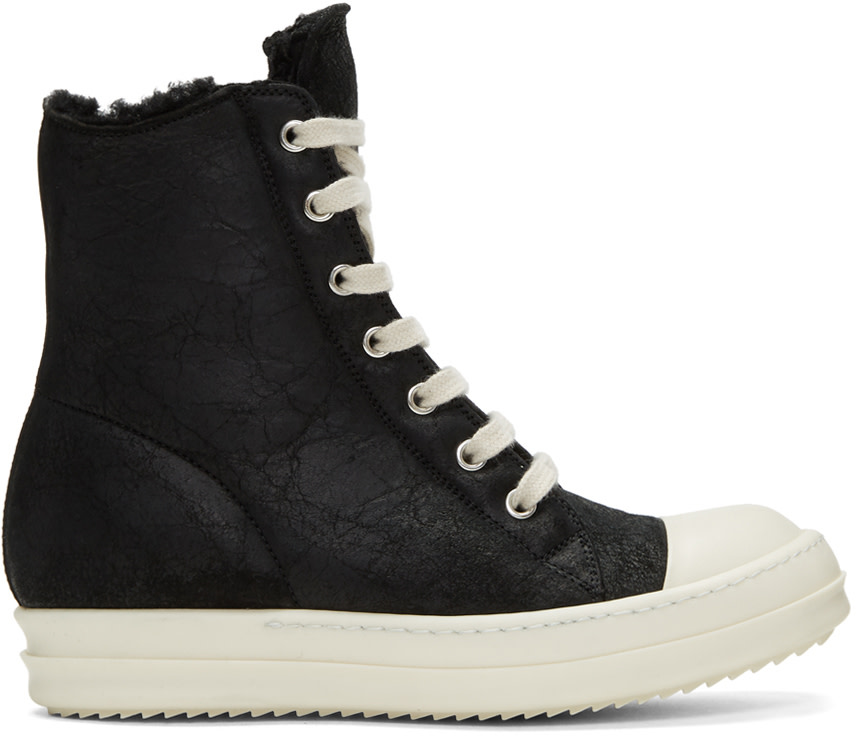 Leather High-Top Sneakers With Sheepskin Lining in Black
