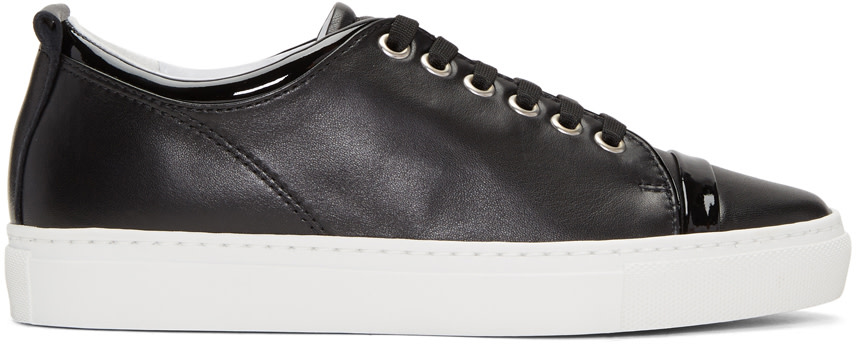 LANVIN Logo-Perforated Leather Sneakers in Black