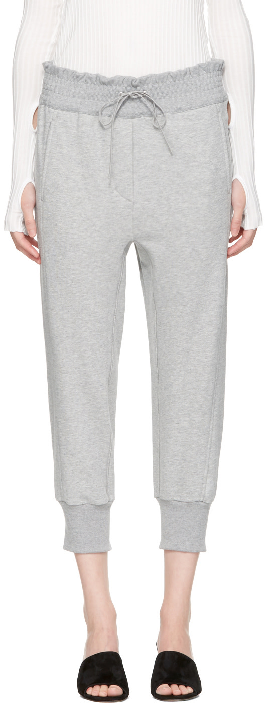3.1 PHILLIP LIM RIBBED HEM COTTON JOGGING TROUSERS, GREY
