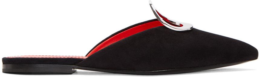 Eyelet-Embellished Suede Slippers, Black