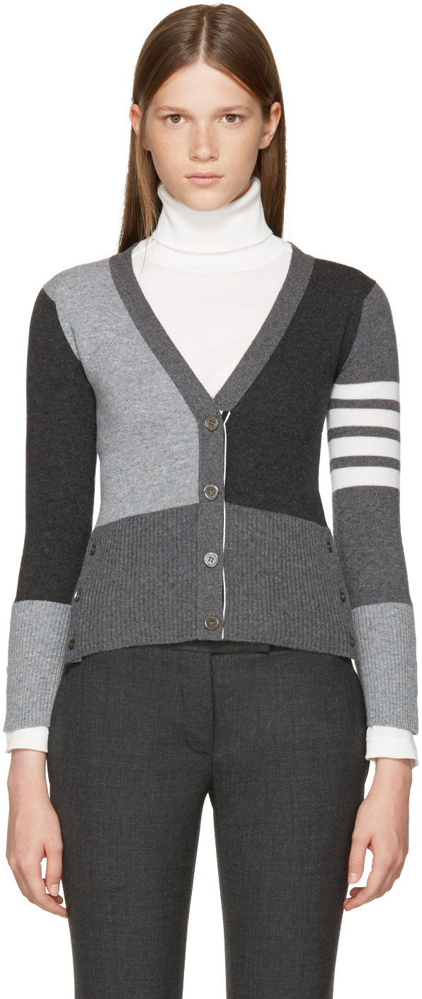Color Blocked Cashmere Knit Cardigan in Grey