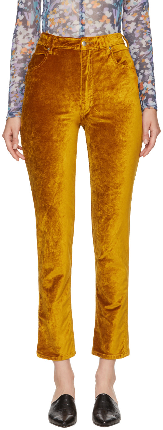 Eckhaus Latta Gold Velvet Trousers