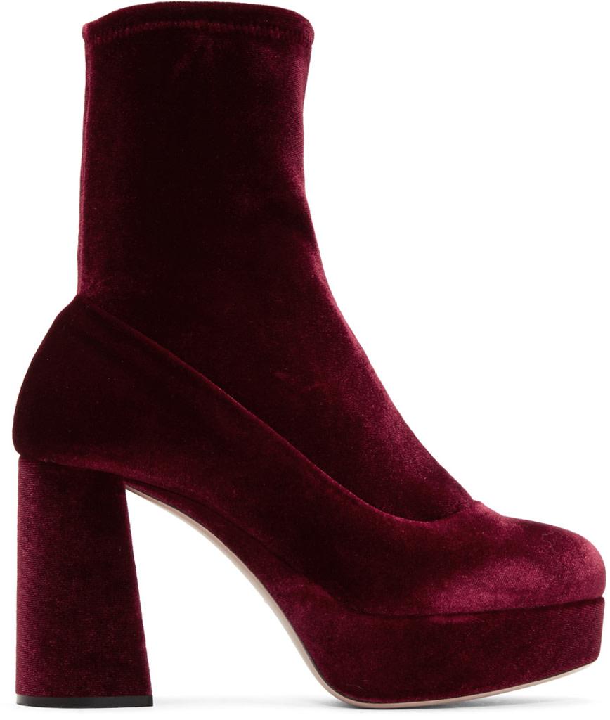 Burgundy Velvet 100 Platform Sock Boots in 007 Bordeaux
