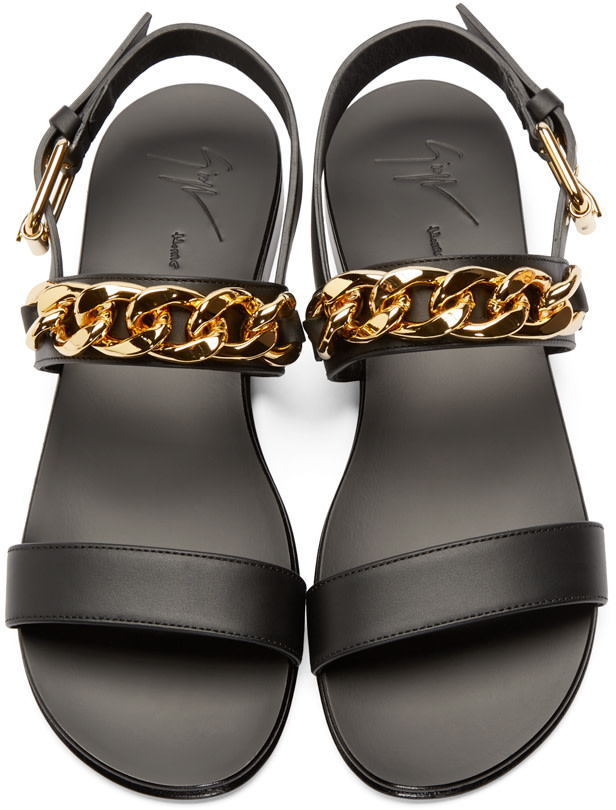 Giuseppe Zanotti Black And Gold Chain Sandals