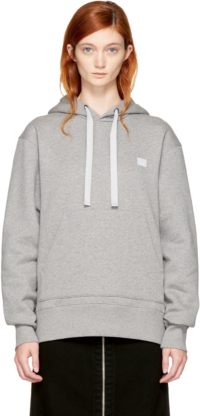Ferris Face Appliquéd Cotton-Jersey Hoodie in Light Grey