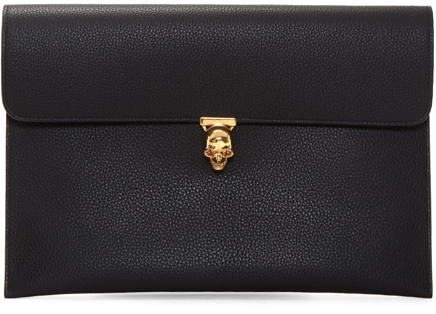 Leather Envelope Clutch W/ Skull in Black