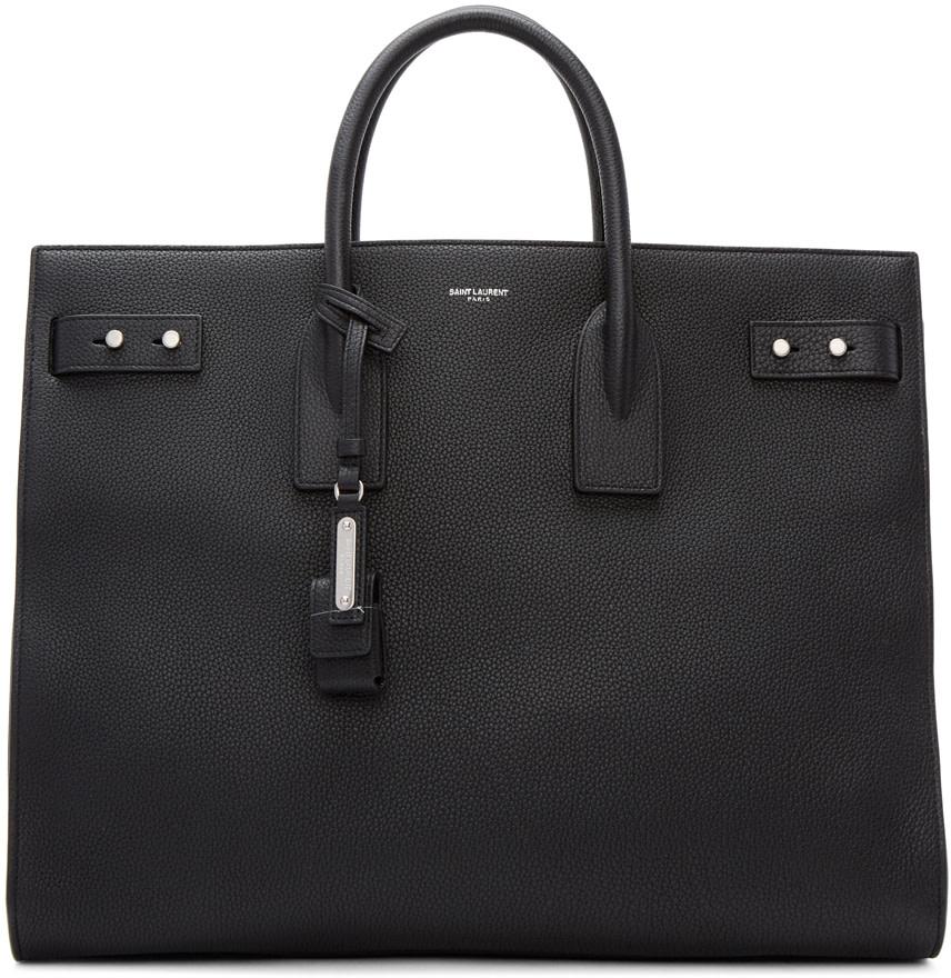 SAINT LAURENT Sac De Jour Large Full-Grain Leather Tote Bag, Black