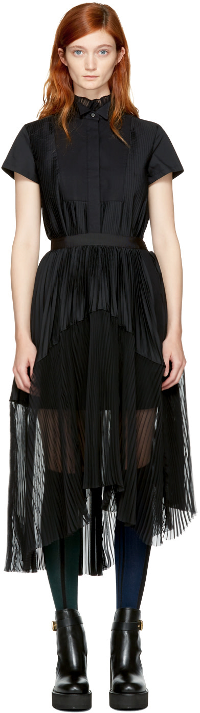 Sacai - Black Pleated Shirt Dress