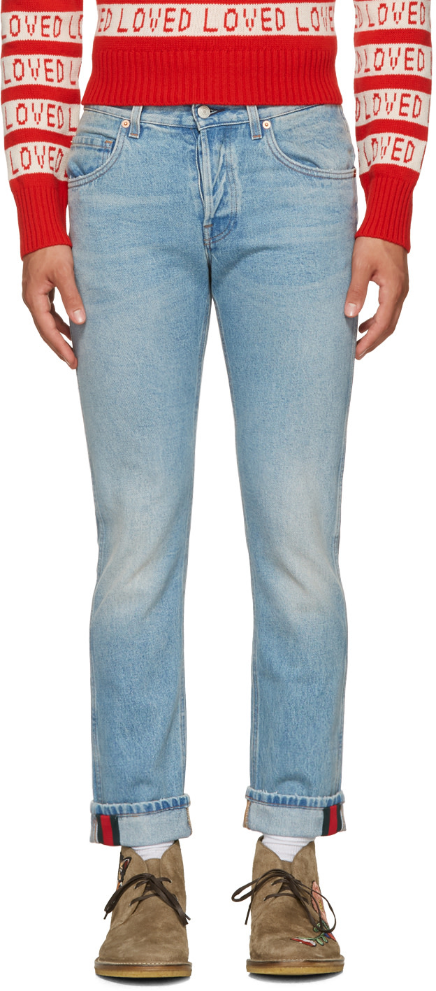 Logo-Print Regular-Fit Straight Jeans in Denim, Blue, Denim, Blue