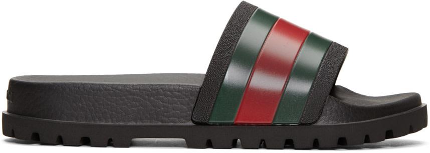 cc86bbcae77 Details about Gucci Pursuit Trek Slides (Men) Size US 6-13 Sandals Flip  Flops Slip On Black