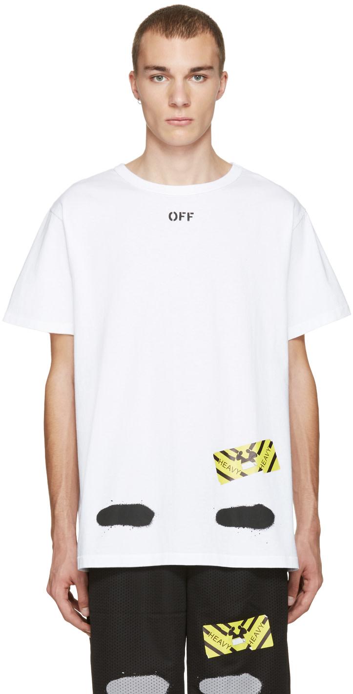 off white white diagonal spray t shirt ssense. Black Bedroom Furniture Sets. Home Design Ideas