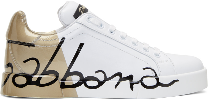 DOLCE & GABBANA DOLCE AND GABBANA WHITE AND GOLD WRITING SNEAKERS