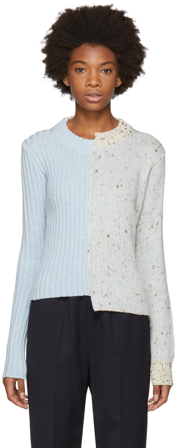 Maison Margiela Blue Glitch Crewneck Sweater