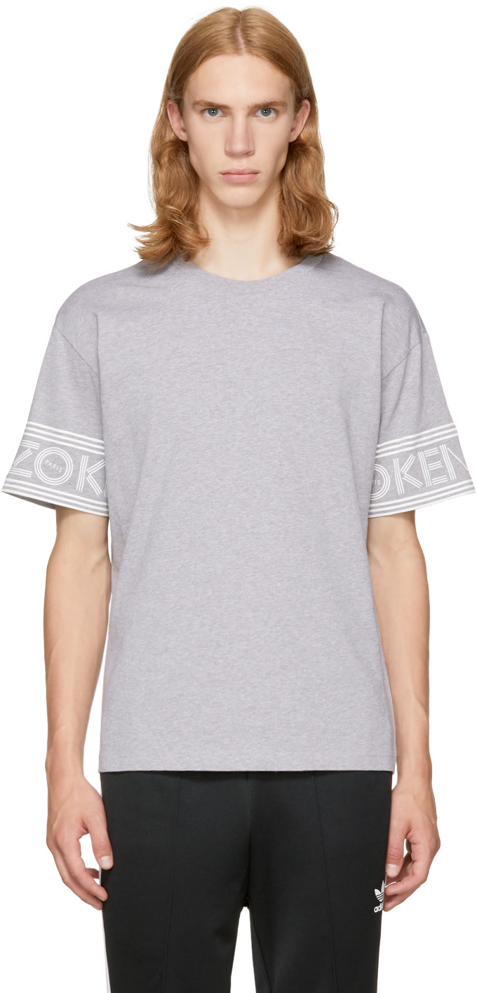 Kenzo Logo-Print Cuff Cotton-Jersey T-Shirt In Grey