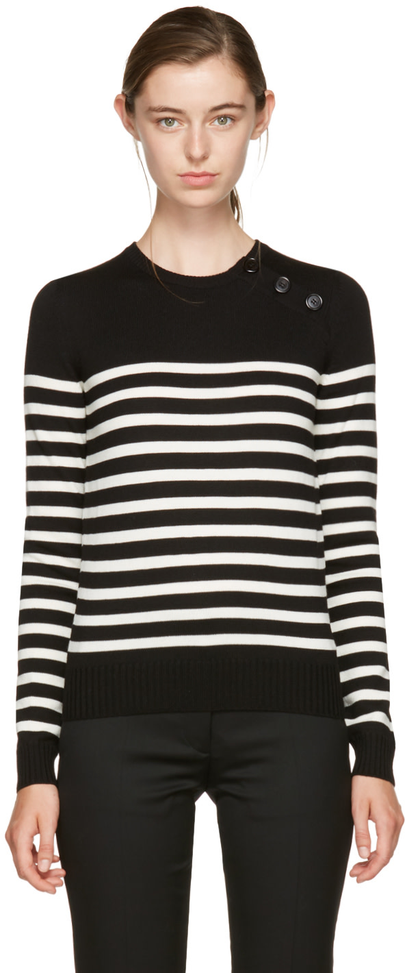 SAINT LAURENT BLACK AND IVORY STRIPED MARINIERE SWEATER