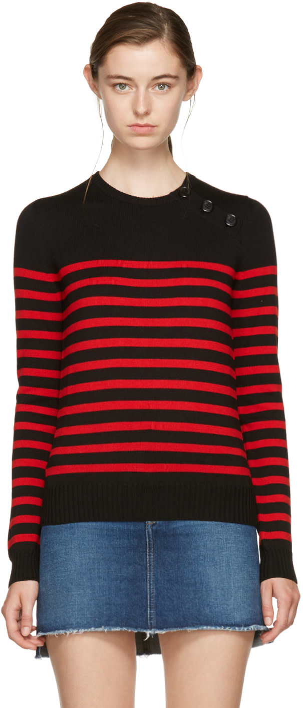 SAINT LAURENT BLACK AND RED STRIPED MARINIERE SWEATER