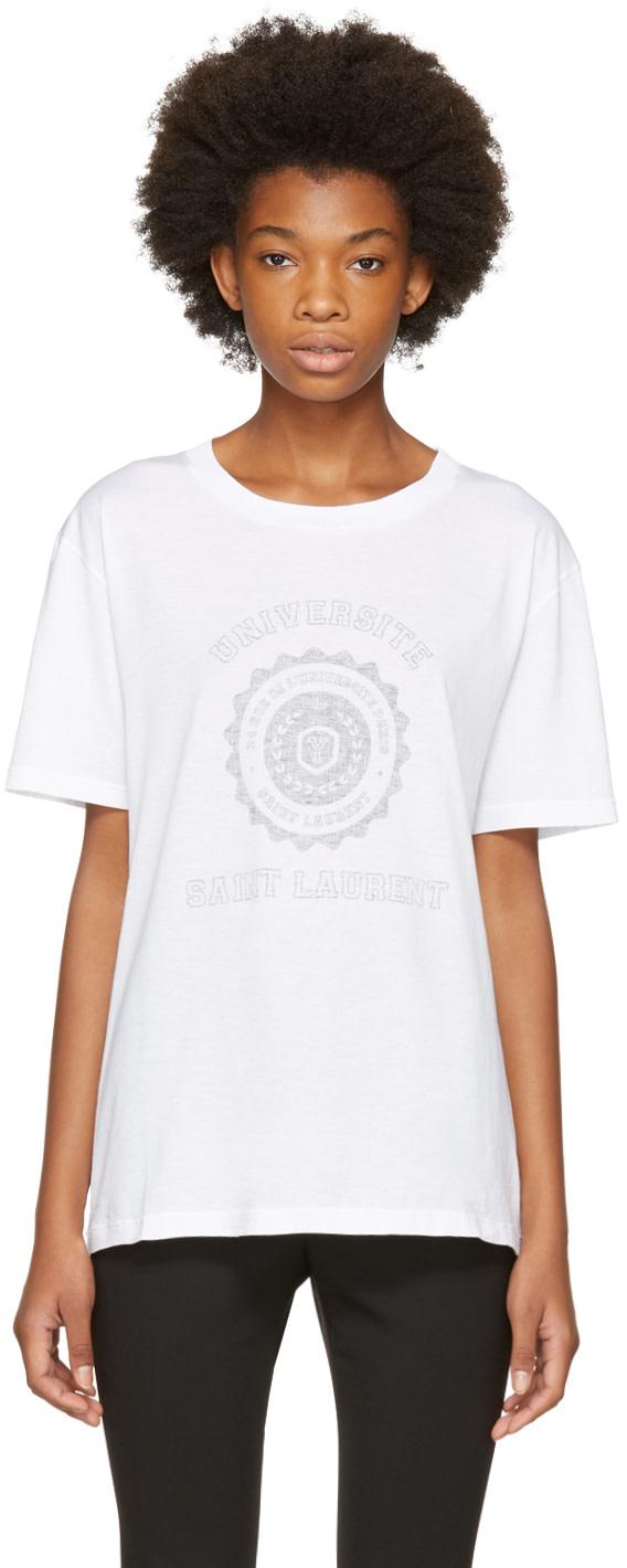 SAINT LAURENT WHITE OVERSIZED UNIVERSITE T-SHIRT